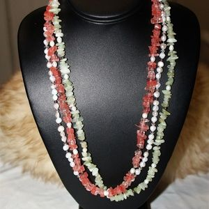 Lucite Chips Faux Pearl Multi Strand Necklace